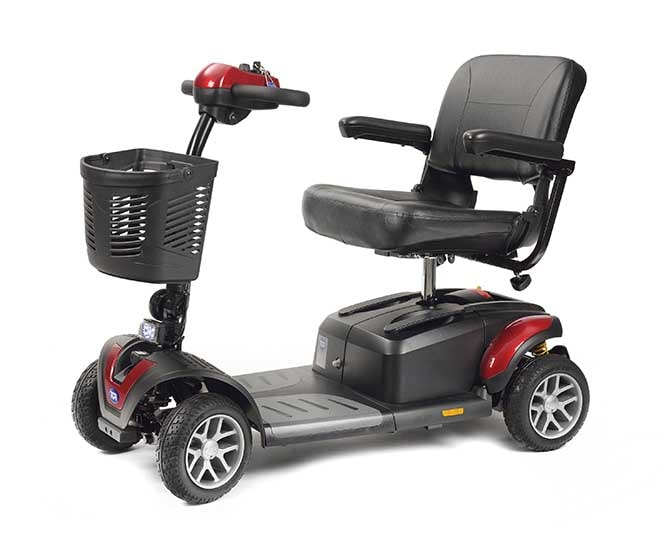 TGA mobility scooter in red and black with shopping basket attachment