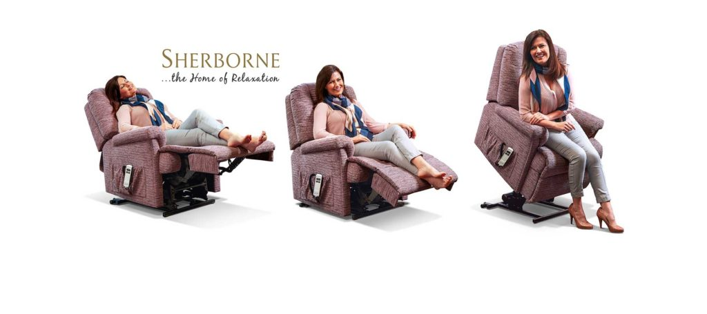 sherborne rise and recline chair being demonstrated by a woman